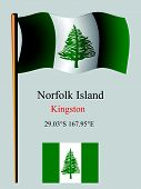 pic of pacific islander ethnicity  - norfolk island wavy flag and coordinates against gray background vector art illustration image contains transparency - JPG