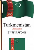 Turkmenistan Wavy Flag And Coordinates