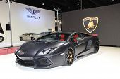 Bangkok - March 26: Black Lamborghini Car On Display At The 34Th Bangkok International Motor Show On