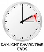 stock photo of daylight saving time  - vector illustration of a clock return to standard time