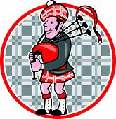 image of bagpipes  - Illustration of a scotsman bagpiper playing bagpipes viewed from side set inside circle with tartan pattern done in cartoon style - JPG