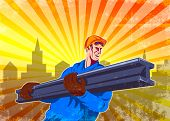 picture of girder  - Poster illustration of construction steel worker carrying i - JPG
