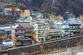 The small town of Shibu Onsen in Nagano Prefecture. The town is famed for the numerous historic bath