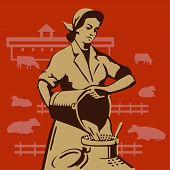 stock photo of milkmaid  - Soviet milkmaid pouring buckets of fresh milk in cans vector illustration - JPG