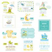 stock photo of bear  - Set of Baby Shower and Arrival Cards  - JPG