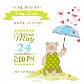 stock photo of baby bear  - Baby Shower Card  - JPG