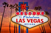 Welcome to Fabulous Las Vegas sign sunset with palm trees Nevada photo mount