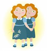 stock photo of gemini  - Twin girls holding hands illustrate zodiac sign Gemini - JPG