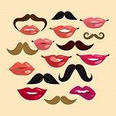 picture of mustache  - Composition with lips mustache smile female in hipster vintage style vector illustration - JPG