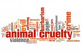 stock photo of inhumane  - Animal cruelty issues and concepts word cloud illustration - JPG