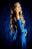 image of wavy  - Portrait of a magnificent young woman with beautiful wavy hair - JPG
