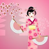 foto of geisha  - An illustration of a beauty Geisha with fan - JPG