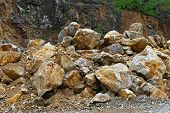 image of mine  - Big stones in open pit quarry mine - JPG