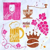 stock photo of drawing beer  - food and drink watercolor set coffee wine beer 10 eps - JPG