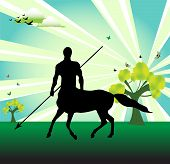 stock photo of centaur  - Abstract colorful illustration with trees - JPG
