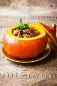 pic of stew  - Beef stew with vegetables  in pumpkin - JPG