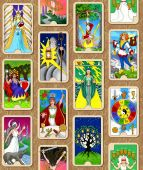 stock photo of wiccan  - A seamless repeating pattern featuring my Tarot Cards - JPG