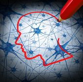 picture of metaphor  - Neurology research concept examining the neurons of a human head to heal memory loss or cells due to dementia and other neurological diseases as a mental health metaphor for medical research hope - JPG