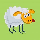 foto of wacky  - Funny sheep with his tongue hanging out - JPG