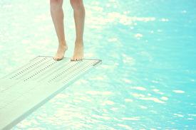 foto of wet feet  - Feet on a diving board - JPG