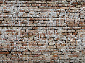 image of mortar-joint  - An old brick wall with open mortar joints - JPG