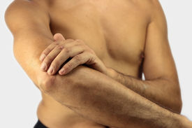 image of tennis elbow  - man affected by Tennis elbow or lateral epicondylitis - JPG