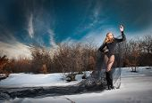 stock photo of gothic female  - Lovely young lady posing dramatically with long black veil in winter scenery - JPG