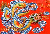Постер, плакат: Изображение дракона в китайский храм