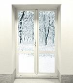 image of cold-weather  - Closed White Door on Wall and cold weather with snow outside the door - JPG