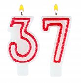 stock photo of number 7  - Birthday candles number thirty seven isolated on white - JPG