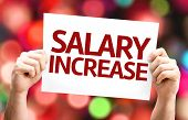 picture of employee month  - Salary Increase card with colorful background with defocused lights - JPG