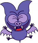 image of enthusiastic  - Purple bat in minimalistic style with sharp fangs and short wings while clenching its bulging eyes - JPG
