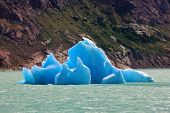 stock photo of iceberg  - Unique lake Viedma in arid Patagonia - JPG