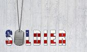picture of tribute  - Military dog tags with patriotic flag on weathered wood - JPG