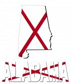picture of alabama  - Alabama map flag and text illustration - JPG