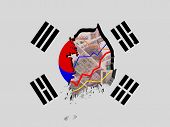 picture of won  - South Korea map with flag and graphs on Won illustration - JPG