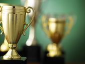 foto of golden  - Close up champion golden trophy  - JPG