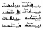 stock photo of koln  - Vector illustration of silhouettes of 8 cities of Germany  - JPG