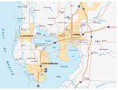 image of gulf mexico  - Map of the west central Florida region Tampa Bay Area - JPG