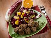 image of chicory  - meatball with red chicory and orange salad - JPG
