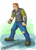 picture of vest  - Vector drawing disaffected biker in leather vest that stands in the road - JPG