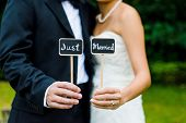 stock photo of married couple  - Wedding couple holding Just Married sign in color - JPG