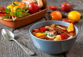 foto of hungarian  - Traditional hungarian dish bograch goulash  - JPG
