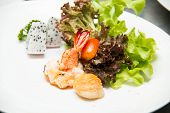 picture of tiger prawn  - Tiger shrimp prawns with fresh lettuce in plate - JPG