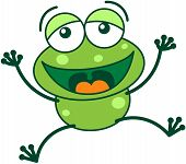 stock photo of bulge  - Cute green frog with bulging eyes and long legs while jumping high - JPG