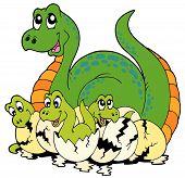 picture of dinosaur-eggs  - Dinosaur mom with cute babies  - JPG