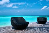 picture of jetties  - Tropical beach jetty at Maldives - JPG