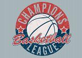 stock photo of basketball  - A Basketball Champions league distressed print  - JPG