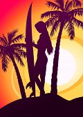 picture of hawaiian girl  - Surfing girl with surfboard and palm trees  - JPG