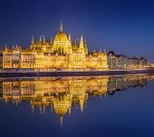 picture of hungarian  - View of hungarian Parliament building and Liberty Statue at night in Budapest - JPG